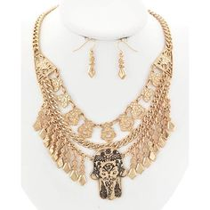 """Hamsa Chain Necklace Set Antique Gold Tone / Lead&nickel Compliant / Metal / Fish Hook (earrings) / Charm / Hamsa W/elephant / Necklace & Earring Set  •   LENGTH : 16"""" + EXT •   EARRING : 1 1/4"""" •   DROP : 2 1/2""""  •   ANT.GOLD R.E.A.L Jewelry Jewelry Necklaces"""