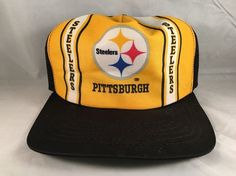 662ee57fd2d Vintage PITTSBURGH STEELERS Mesh Trucker Snapback Hat Cap NEW ERA Made USA  NFL  NewEra  PittsburghSteelers