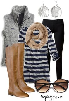comfy, warm, & cute for fall cloth, style, casual fall, fall outfits, winter outfits, fall fashion, closet, brown boots, stripe