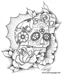 print awesome sugar skull picture online coloring pages