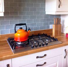 Blue Mercia Duck Egg Ceramic Tiles for Kitchen Wall Metro Tiles Kitchen, Kitchen Splashback Tiles, Backsplash, Countertop, Kitchen Interior, New Kitchen, Kitchen Decor, Country Kitchen Tiles, Kitchen Ideas