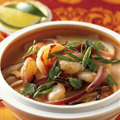 For subtle spice in this Asian-inspired soup, use half a red chile; add a whole chile for a good punch of heat.