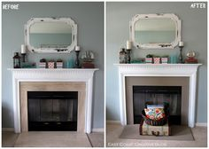 For real? Chalk Paint on the tile??? Who would have thought! I have horrid tile on my fireplace right now!  Simple Fireplace Upgrade {Annie Sloan Chalk Paint} - East Coast Creative Blog
