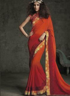 Orange Red Embroidery Work Georgette Designer Party Wear Sarees  #Wedding #Bridal #designer #Saree       http://www.angelnx.com/Sarees