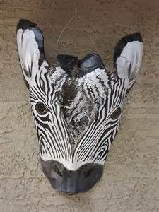 Items similar to Recycled Palm Frond Zebra Mask Wall Art on Etsy