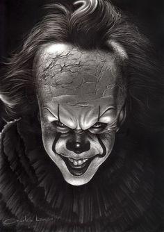 Pennywise - Charles Laveso Arte Horror, Clown Horror, Horror Drawing, Graffiti Drawing, Realistic Pencil Drawings, Dark Art Drawings, Creepy Smile, Creepy Clown, Horror Movie Characters