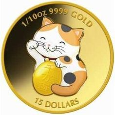 WEALTHY LUCKY WAVING YELLOW CAT 1/10OZ GOLD COIN Australian gold coin , gold coin ,gold coin collecting,perth mint gold coins ,investment gold coins,lucky 2010  gold coin