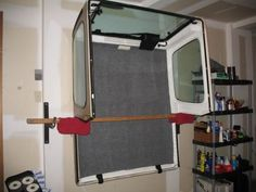 Also works with brackets that are designed to store extension ladders