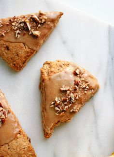 Banana nut scones with maple glaze. These are made with coconut oil instead of butter, so they're #vegan!