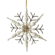 """Midwest 7"""" Silent Luxury Rustic Gold Beaded Finial Snowflake Christmas Ornament"""