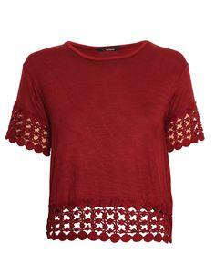 Crochet Panel Cropped Tee in Burgundy £ 9.95 http://www.chiarafashion.co.uk/crochet-panel-cropped-tee-in-burgundy.html #crochet #panel #shell #top #tee #tshirt #basic #jersey #burgundy #trend