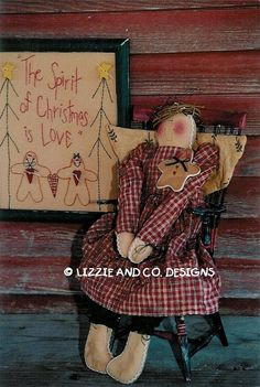 HoLLy BeRRy AnD PiN - GiNGeRBReaD DoLL - GiNGeRBReaD AnGeL - STiTCHeRy AnD GiNGeRBReaD PiN - PDF ePattern - Primitive and Whimsical