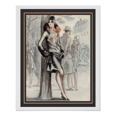 French Art Deco Print 16 x 20 - flower print gifts floral idea giftideas