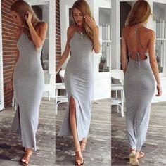 Spaghetti Strap Split Backless Solid Slim Beach Dress