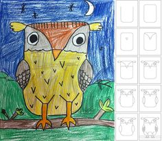 Art/Writing Projects for Kids: How to Draw an Owl- First, Next, Then, After that, etc.
