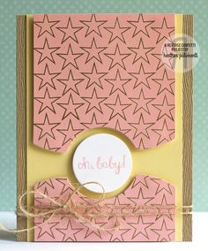 Card by Heather Pulvirenti. Reverse Confetti stamp sets: So Many Stars and Beautiful Banners. Confetti Cuts: Hanging Out and Circles 'n Scallops. Baby card. Valentine's card. Friendship card.  Anniversary card.