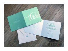 Geboortekaartje Tess mint script stoer simpel strak custom mamakaart mamakaart.nl birth announcement geboortekaartjes hip stoer kalender