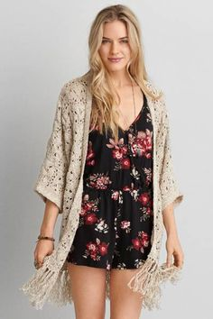 AEO Fringe Kimono  by AEO   Layer on the style with a flowy kimono made for eternal sunshine.  Shop the AEO Fringe Kimono  and check out more at AE.com.