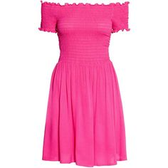 Dress with smocking ($12) ❤ liked on Polyvore featuring dresses, pink fit-and-flare dresses, pink short sleeve dress, short flare dress, off shoulder dress and flare dress