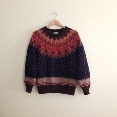 Vintage Navy Blue Scandinavian Sweater // by AllyHootVintage