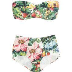 Dolce & Gabbana Floral and fruit-print bandeau bikini - Polyvore