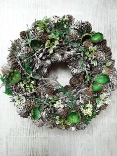 Winter Wreath with Cone Christmas Wreath Front Door by MDECOR1979