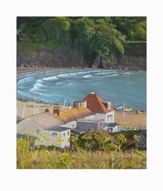 'Hope Cove' by Clive Hubbard. Pastel on Paper.   24cm x 27 cm.