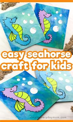 This Watercolor Seahorse Craft Is The Perfect Combination Of Arts and Crafts. It's Perfect For Toddlers And Preschool Children And Comes With A Free Printable Pattern Template. Incredible For Ocean Themes Or Under The Sea Seahorse Crafts, Ocean Crafts, Cool Art Projects, Craft Projects For Kids, Crafts For Kids To Make, Art For Kids, Kids Crafts, Craft Kids, Summer Crafts