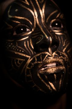 Black and Gold Makeup Tutorial using Snazarroo and Mehron Metallic powders. Inspired by Fever Ray and Maori Tribe masks. A dark surreal makeup transformation.