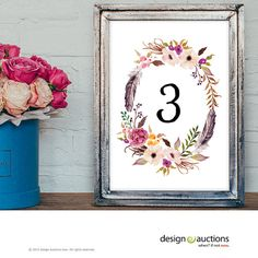 wedding table number 1-20 instant download watercolor floral wreath wedding party signage printable business signs floral printable signage