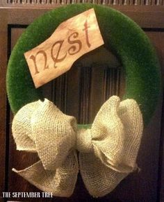 Spring wreath moss burlap bow 14 by TheSeptemberTree on Etsy,
