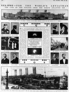 20th April 1912: Illustrations and photographs of the 'Titanic' and its passengers and crew.