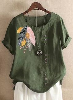 FloryDay / Plus Size Floral Casual Round Neckline Half Sleeve Blouses Cute Blouses, Plus Size Blouses, Blouses For Women, T Shirts For Women, Half Sleeves, Types Of Sleeves, Short Sleeve Blouse, Short Sleeves, Latest Fashion For Women