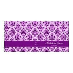 Purple Damask Personalized Wedding Vinyl Binder