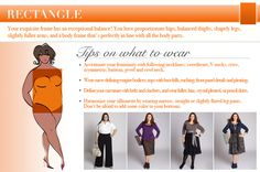 DIY How to Dress Your Shape Infographic from IGIGI Good suggestions, but really wear whatever you want to. Life is too short to conform to what you think others want you to look like. Dress to please yourself. Wear what you love. Designer Plus Size Clothing, Plus Size Designers, Plus Size Fashion Tips, Plus Size Outfits, Dress Body Type, Body Proportions, Rectangle Shape, Body Parts, Body Shapes