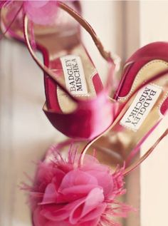 These flowery, fuschia Badgley Mischka heels couldn't get any girlier -and we can't get enough!