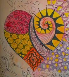 Zentangle heart and pretty background