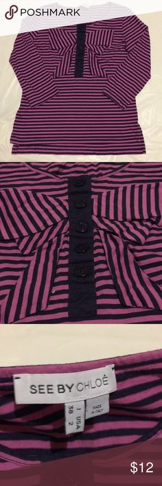 See by Chloe, striped blouse, Ladies size 2 See by Chloe, striped blouse, Ladies size 2  Used in good condition  Color: Stripe purple and navyblue  Made in Italy See By Chloe Tops Blouses