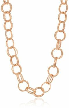 """Betsey Johnson """"Classic Boost"""" Rose Gold Circle Link Long Necklace, 36"""" Betsey Johnson,http://www.amazon.com/dp/B00BQHB5CS/ref=cm_sw_r_pi_dp_IxVBsb0MB9VPZ7FQ"""