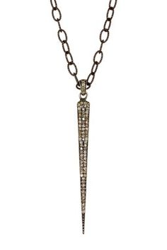 Oxidized Sterling Silver White Topaz Dagger Pendant Necklace