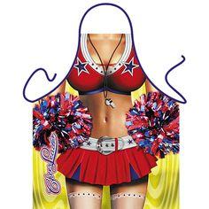 Sexy schort Cheerleader. Cheerleader keukenschorten gemaakt van mooie kwaliteit bedrukking in schitterende kleuren. Materiaal: 100% polyester. Deze kookschorten hebben een lengte van ongeveer 94 cm en 57 cm breed. Wasbaar tot 50 graden.
