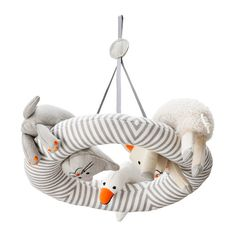 The LEKA mobile was designed from a baby's point of view, so friendly animals are facing downward to meet your baby's upward gaze.
