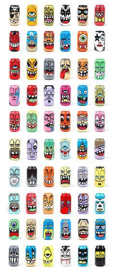 Pintados a mano las latas de dibujos animados de diseño del diseñador americano, Greg, Mike, bueno Q! !