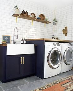 """239 Likes, 4 Comments - domino (@dominomag) on Instagram: """"Laundry. Room. Goals. Tap the link in our bio to see super pretty (and functional!) laundry rooms…"""""""