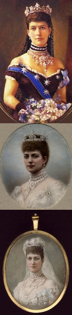 """Another set to show the """"Rundell"""" tiara by Garrard. It was a wedding gift from Prince of Wales (future King Edward VII) to Princess Alexandra of Denmark in 1863. With stylized trefoils and lovers' knots, the tiara is designed to be flexible; the elements break down to brooches and the base can be worn with just the scrolls or with diamond stars attached. The tiara was also part of a parure. It has not been seen in many decades, however the rest of the parure is still worn."""