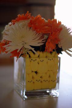 Easy peep flower arrangement for Easter Brunch inspired by Pinterest