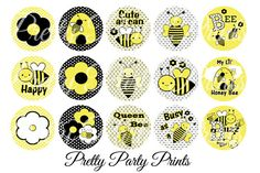 Instant Download Be Happy Bees 1 inch Round by PrettyPartyPrints, $1.50