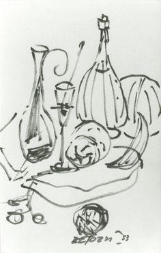 """E. Besozzi pitt. 1953 Composizione pennarello su carta cm. 14x8,5 arc. 27 Bibliografia: A.Paccini, Walter Besozzi , P. Tolu, 2013 prefazione pieghevole Esposizione: Lecco, galleria """"La Nassa"""", ott./nov. 2001 Sesto Calende, Centro Culturale Card. A. Dell'Acqua, apr./mag. 2002 Porto Valtravaglia, Palazzo Comunale Sala P. Colombo, sett./ott. 2002 Milano, Biblioteca """"Cassina Anna"""", febbraio 2004 Vergiate, Biblioteca Comunale  giugno 2013."""