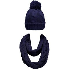 NEOSAN Women Winter Thick Knit Infinity Loop Scarf And Pom Pom Hat Set... ($20) ❤ liked on Polyvore featuring accessories, scarves, tube scarf, loop scarf, navy infinity scarf, infinity scarf and navy shawl