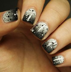 Black and white ombré sparkles